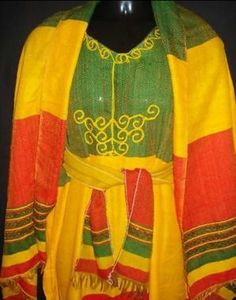 Rasta Color Ethiopian coffee dress with matching scarf & belt:: Free size Ethiopian Traditional Dress, Traditional Dresses, Ethiopian Flag, Rasta Colors, Thing 1, Flag Design, International Fashion, African Dress, Jamaica
