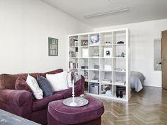 Ikea Shelves-Kallax room divider Living room Bedroom Ideas by Studio Apartment Furniture, One Room Apartment, Basement Furniture, Studio Apartment Decorating, Apartment Layout, Apartment Living, Etagere Kallax Ikea, Ikea Kallax Regal, Ikea Regal