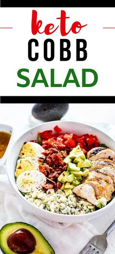 This Keto Cobb Salad with Grilled Chicken is the perfect lunch. You are going to love the contrast between crunchy romaine, crispy bacon, creamy blue cheese and avocado, and a delicious sweet heat dressing. #kickingcarbs #LowCarbCobbSalad #GrilledChickenSalad #KetoRecipes Low Carb Taco Salad, Salad Recipes Low Carb, Keto Recipes, Low Carb Salad Dressing, Salad Dressing Recipes, Easy Dinner Recipes, Easy Meals, Grilled Chicken Salad, Low Carb Vegetables