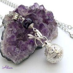 Filigree Ball Locket with Purple Agate £9.95