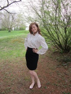 80's blouse long sleeve ruffle front by ElizabethJeanVintage, $18.00