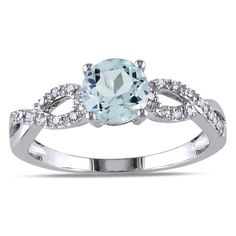 Miadora 10k White Gold Aquamarine and 1/10ct TDW Diamond Ring (G-H, I1-I2) | Overstock.com Shopping - The Best Deals on Gemstone Rings