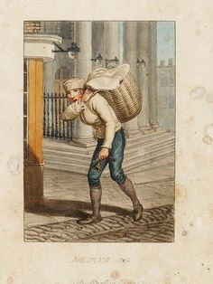 ‎'Man selling bread on St. Martin's Lane, London' by William Marshall Craig, 1804 Watercolour