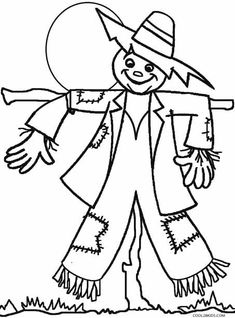 printable scarecrow coloring pages for kids cool2bkids