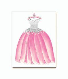 Princess Decor, Princess Dress Wall Art, Girl Nursery Decor, Dress Art Print 8x10, Kids Girls room Decor, Pink, Purple, Peach, Blue