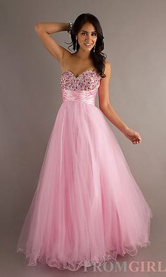 Floor Length Tulle Sweetheart Dress at PromGirl.com Look like a princess in this ball gown