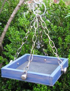 ***SOLD***    Fade to Blue  Wood Bird Feeder Tray with Guardian by gardenfinds, $32.50