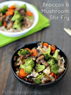 Broccoli and Mushroom Stir Fry is a quick and easy #vegan #gluten-free and oil-free recipe that is delicious! #meat-less