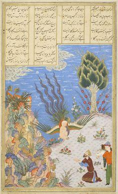 The Simorgh restores Zal to Sam Ferdowsi, Shahnameh Timurid: Herat, c.1444 Patron: Mohammad Juki b. Shah Rokh Opaque watercolour, ink and gold on paper London, Royal Asiatic Society, Persian MS 239, fol. 16v