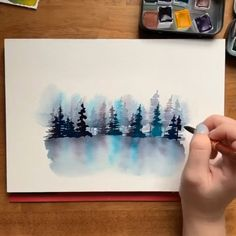 Watercolor misty forest I can't get sufficient of those moody colours ? Watercolor misty forests are most likely my most favourite, and I can't wait to share my strategies with you in my new Skillshare class! Watercolor Painting Techniques, Watercolour Tutorials, Painting & Drawing, Painting Process, Diy Painting, Watercolor Landscape, Watercolor Flowers, Watercolor Paintings, Easy Watercolor