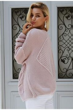 Cosy up with ALANA in pink! Material: Computer knitted Cotton Veck Collar Long Sleeves Lantern Sleeves Model wears M Cardigan Sweaters For Women, Sweater Cardigan, Turtle Neck, Badass Style, Pullover, Elegant, Knitting, Long Sleeve, Model