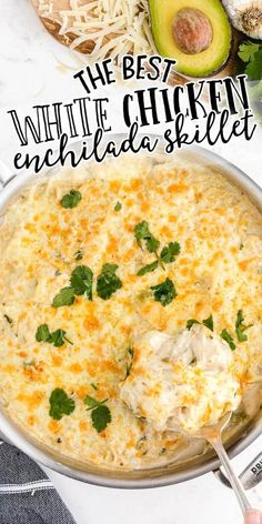 This delicious white chicken enchilada skillet is the perfect quick and easy weeknight dinner. #ad Creamy and cheesy, this one-pan recipe is loaded with seasoning, chicken, and tortillas for an irresistible meal. You can enjoy this yummy meal without fear of frequent heartburn when you make Target Up&Up Omeprazole Orally Disintegrating Tablets* part of your daily routine! *Please note: use as directed for 14 days to treat frequent heartburn (occurring 2 or more days a week).