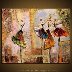 """Solo and Trio"" - Original Ballet Paintings by Lena Karpinsky, http://www.artbylena.com/original-painting/794/solo-and-trio.html"