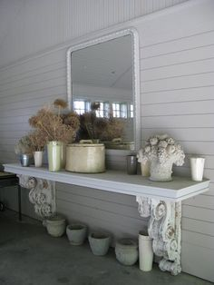 salvage corbels-brackets & wide plank will make an outdoor table or interior snack table-bar. Farmhouse Decor, Decor, House, Patio Table, Kitchen Table Bench, Home Decor, Room Decor, Entryway Tables, Corbels