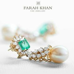 Emeralds Diamonds and Pearl. Beautiful combination. #emerald #diamonds #pearl…