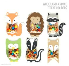 Woodland Animal Treat Holders These treat holders are my favorite part of the entire woodland party collection. The animal body and head are one piece that fold over the treat bag. Fill a clear bag (2×3″) with goodies and adhere inside the flap. Your guests will love these friendly little animals holding their treats.