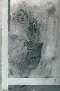Birth Study by Feral Kid Klimt Art, Graphite Art, Popular Art, Illustrations And Posters, Gravure, Art Sketchbook, Portrait Art, Dark Art, Traditional Art