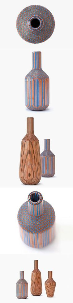 This Is Really Art..pencils made into vases  Glue and a lathe, and lots of imagination