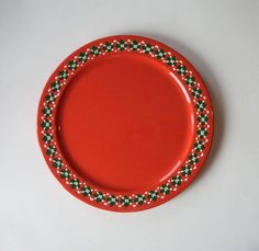 Red Christmas Plate 12 1/4 Christmas Cookie Plate Red