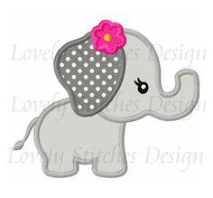 Linda chica Animal elefante apliques bordado de máquina de