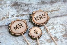 Rustic Wedding Cake Topper / Tree Slice Cake Topper /  Mr