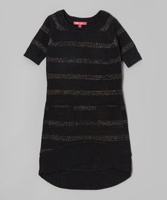 Take a look at this Black Shimmer Stripe Sweater Dress - Toddler & Girls by Cherry Stix on #zulily today!