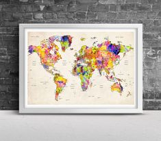 World Map Watercolor Wall Art - Map of the World, Map Art Print, Continents Map Poster, Wall art, Wall decor, Watercolor painting