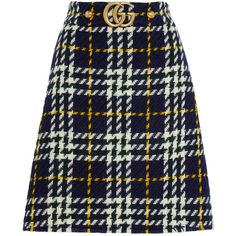 Gucci Plaid wool skirt ($875) ❤ liked on Polyvore featuring skirts, gucci, wool a line skirt, tartan plaid skirt, blue tartan skirt and blue wool skirt