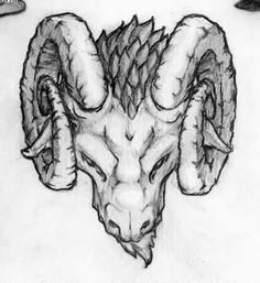 Aries Goat Skull Tattoo Drawing | Tattooshunter.com