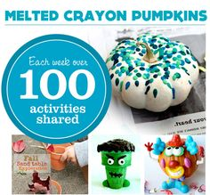 {Melted Crayon Pumpkins} *Love this idea for using up old crayons. Too cute.