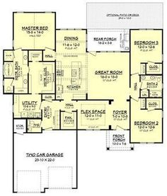 Floor plan THE MOST AMAZING house plan! Though I would turn half the master closet into an office, add a closet by the main entrance, and close off the flex space a little.