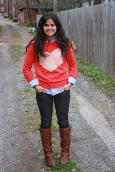 heart sweater, oxford button-up, corduroy pants, brown boots