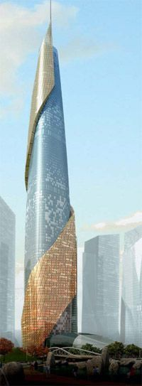 Renzo Pianos 100 story Landmark Tower, stabilized by double-helix external bracing, will anchor Yongsan International Business District in Seoul