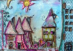 Paper pieced houses by cathy.bluteau, via Flickr