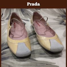 Prada Flats Well loved Pradas.  Rubber soles, sued yes, patent leather uppers.  The worst of the scuff marks shown in pic 3 (inside of left foot) puc 4 is the opposite side of the shoes.  **  Prices are as listed- Nonnegotiable.  I'm happy to bundle to save shipping costs, but there are no additional discounts.  No trades, paypal or condescending terms of endearment  ** Prada Shoes