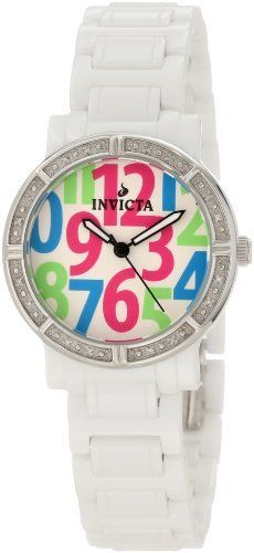 Invicta Women's 10274 Ceramic Diamond Accented White Dial White Watch Invicta. $123.95. Swiss quartz movement. Black second hand. White dial with black hands and pink, blue and green large arabic numerals; luminous; 16 white diamonds set on stainless steel bezel. Flame-fusion crystal; white ceramic case and bracelet. Water-resistant to 100 M (330 feet)