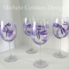 Purple Silver Dragon Fly Painted Wineglass by MicheleCordaroDesign, $54.95