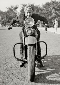Sally Halterman, the first woman granted a license to operate a motorcycle in Washington, D.C., 1937.