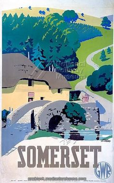 "22""x18"" (58x48cm) Framed Print featuring Poster produced for Great Western Railway (GWR) to promote rail travel to Somerset. The poster shows a rural scene with a cottage, old stone bridge, a stream, trees and green rolling hills. Artwork by Frank Newbould (1887-1951), who studied at Bradford College of Art and joined the War Office in 1942"