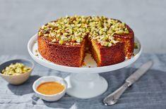 Polenta Cakes, Polenta Recipes, Veggie Recipes, Honey Recipes, Orange Recipes, Orange Polenta Cake, Vegetarian Desserts, Honey Cake, Thanksgiving Desserts