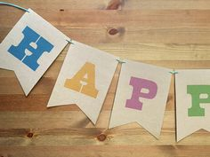 New to Earmark on Etsy: County Fair Party Garland Faux-Bois Paper Part Banner 5x7 with personalized message great for showers and birthday parties (20.00 USD)
