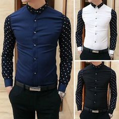 Fashion Mens Stylish Casual Shirts Patchwork Black White Blue Slim Fit Shirts Tops Long Sleeve Summer Shirts Clothes Plus Size
