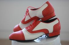 Men's Cervilla Argentine Tango dance shoes. Red and White wing tip shoes. Available at http://adamandtilly.com/product-category/mens-tango-shoes/
