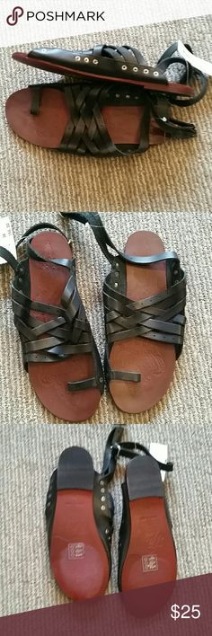 Free people Belize black sandals NWT Free people Belize black strappy sandals size 8.  ** runs about a full size smaller would fit 7/7.5 ** Free People Shoes Sandals