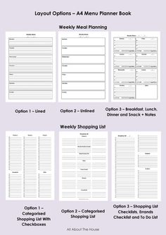 Meal Planner and Grocery/Shopping List Notebook - Customised - 9 Layout Options - 58 pages - Product Number 424. $17.00, via Etsy.