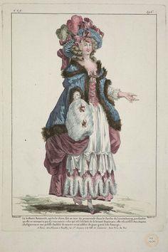 1785 La brillante Raimonde, après le diner, fait un tour de promenade dans le Jardin du Luxembourg, persuadée qu elle ne manquera pas d'y rencoutrer celui qui est l'esclave de sa beauté depuis peu: elle est coëffée d'un chapeau à la Figaro avec une pelisse doublée de martre et un tablier de gaze garni à la Panurge.