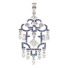 Ciro OSAKA pendant blue Cirolit white/blue, rhodium-plated