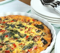 Bacon, Chilies and Pepper Jack Crustless Quiche - would be good baked in rectangle and cut in squares for hors d'oeuvres .