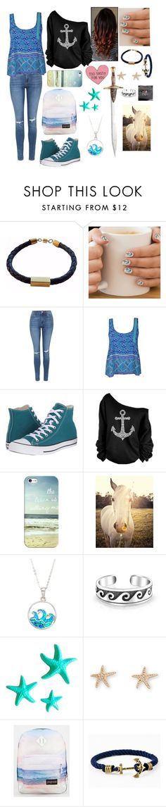 """""""Cabin 3 Poseidon:everyday"""" by squidney12 ❤ liked on Polyvore featuring Topshop, Ally Fashion, Converse, Casetify, Universal Lighting and Decor, La Preciosa, Bling Jewelry, Dot & Bo, JanSport and Kiel James Patrick"""