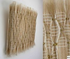 Blondgold: horsehair, gold lurex, wood, 25 x 25 cm. Blond woven horsehair, after weavinga smocking technique with gold lurex was usedto give the piece a rippeled effect.:
